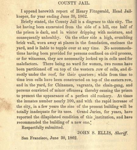 Condition of S.F. Jail, 1862