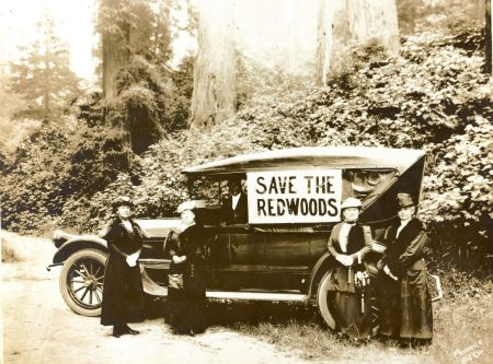 Mrs A. J. Monroe, Mrs. Harpst, Mrs. Atkinson, Mrs. Ella T. Georgeson; driver: Frank Silence. {Source: HSU, Palmquist/Yale Collection]
