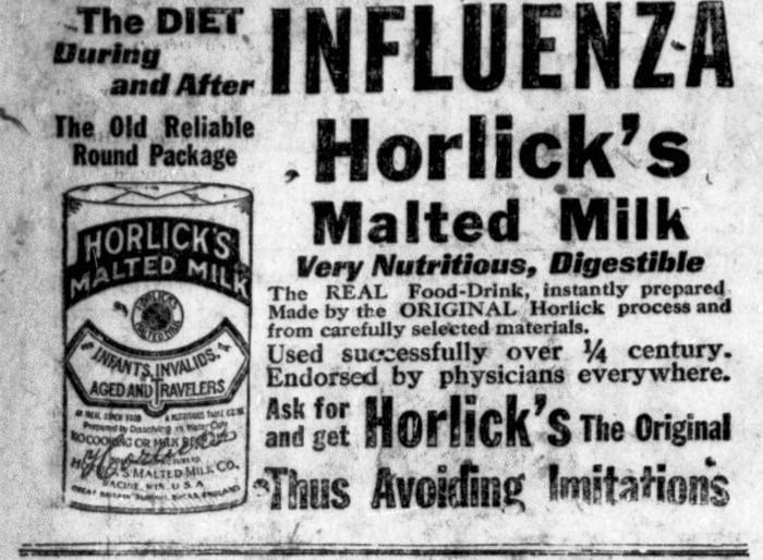 Horlicks.InfluenzaMaltedMilk.HTS19181220.2.35.1-Humb. Times.1918